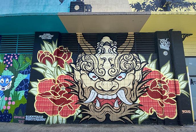 japanese devil demon mural art