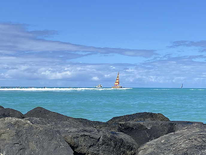 ocean view waikiki sailing boats