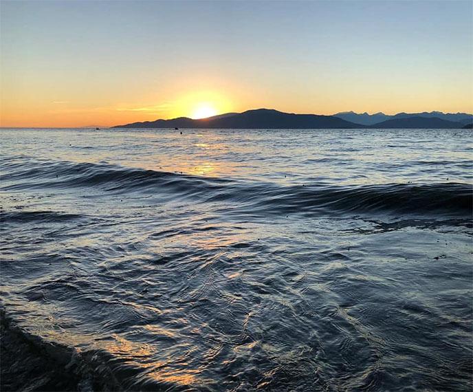spanish banks vancouver ocean sunset water waves