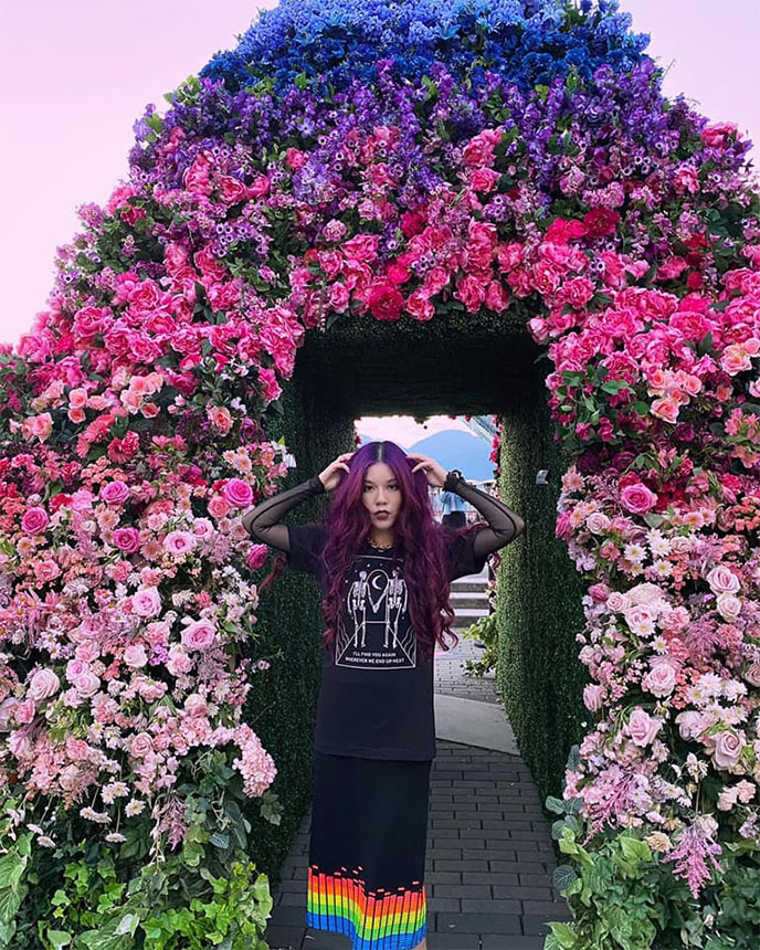 flower pyramid public installation fleurs de villes downtown vancouver