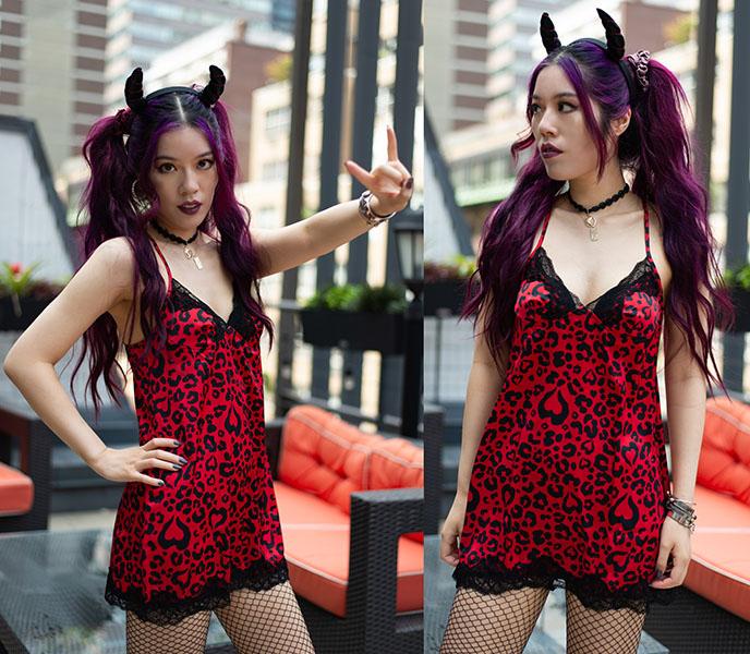 punk rock nightgown slip dress teddy lingerie 3wishes sexy underwear