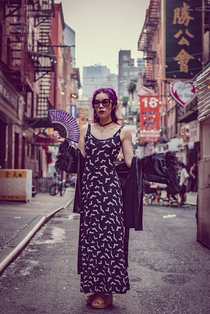 long goth maxi dress luna bats gothic gown