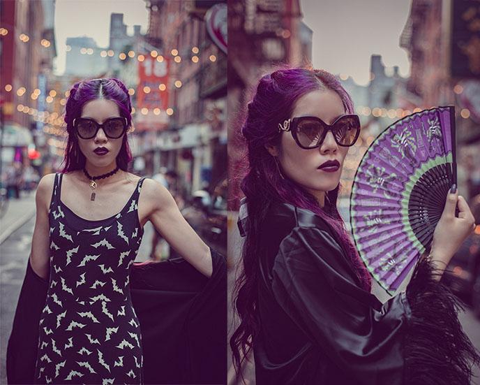 goth hand fan asian harajuku style street fashion