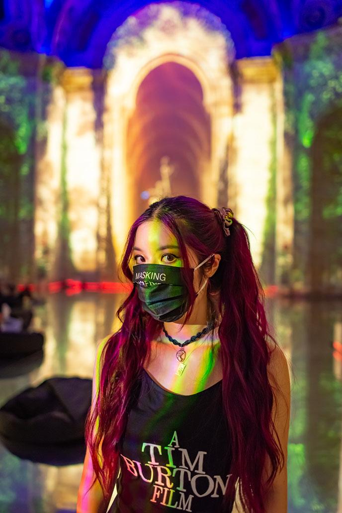 japanese asian girl wearing facemask mask masked japan style goth gothic