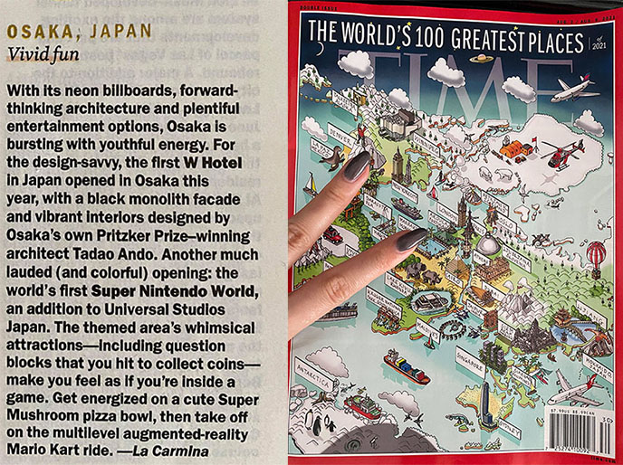 time magazine world's greatest places cover 2021 travel issue article osaka japan
