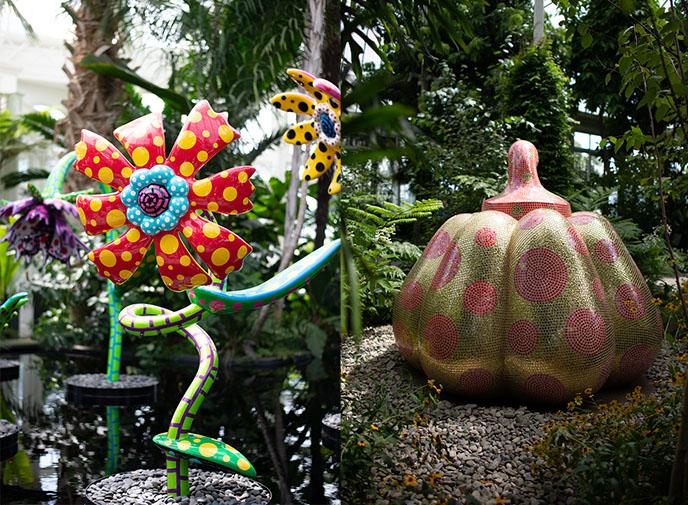 yayoi kusama flower sculptures statues