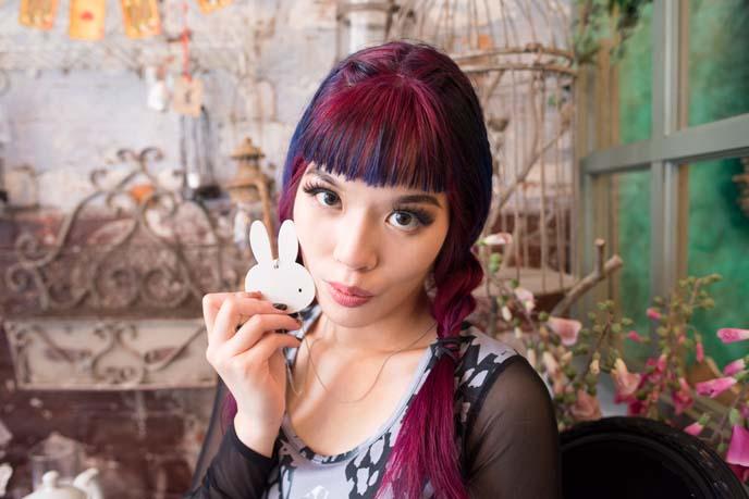 miffy jewelry, purple hair girl